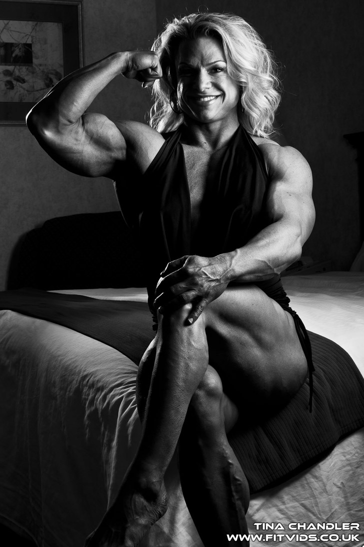 Tina Chandler Flexing Her Bicep And Built Calves