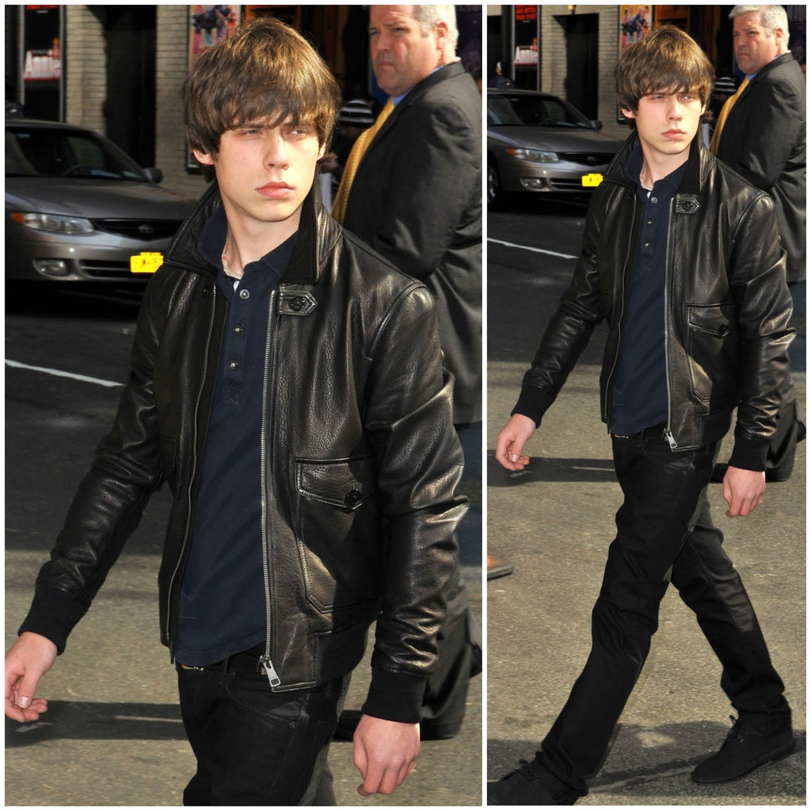 00O00 Menswear Blog Jake Bugg seen at 'The Late Show with David Letterman' in New York City with Burberry Brit Slim-Fit Leather Bomber Jacket (April 8, 2013)