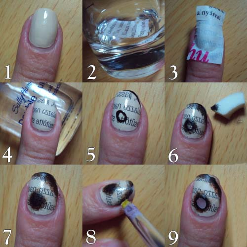 How to make burned newspaper nail art tutorial entertainment nail art might seem difficult but its not and you can create some incredible effects yourself at home in this tutorial we want to show you that how you prinsesfo Choice Image