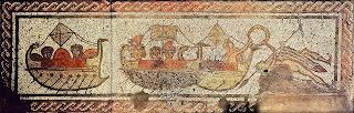 Este mosaico hallado en la villa romana de Low Ham, en Inglaterra, recrea el mito de la llegada de Eneas y los refugiados de Troya a Cartago, donde serán recibidos por la reina Dido. Siglo IV. Museo de Somerset.
