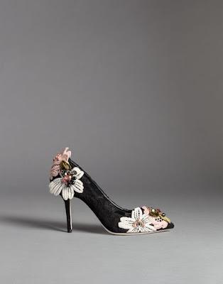 black lace pumps with floral appliques