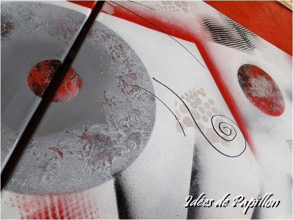Id es de papillon tableau triptyque moderne en rouge noir et gris - Tableau rouge noir gris moderne ...