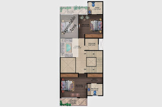 Czar Villas  :: Floor Plans,Type C:-First Floor2 Bedroom, 2 Toilet, Stairs, 2 Balconies, Expandable Area Area - 150 Sq. Yds. (2178 Sq. Ft.)