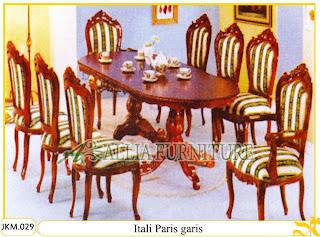 Kursi dan Meja Makan Ukiran Kayu Jati Itali Paris Garis