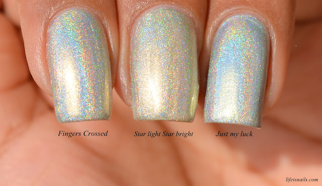 Comparison of Fingers crossed, Star light star bright and Just my luck