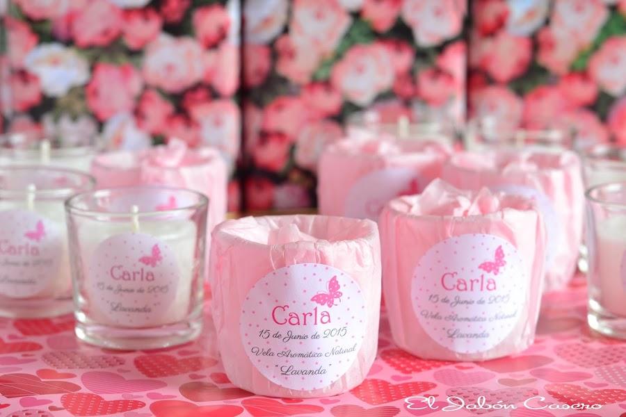 detalles bautizo velas aromaticas decoradas en rosa