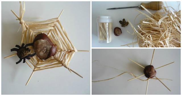 делаем поделку паук с паутиной из природных материалов