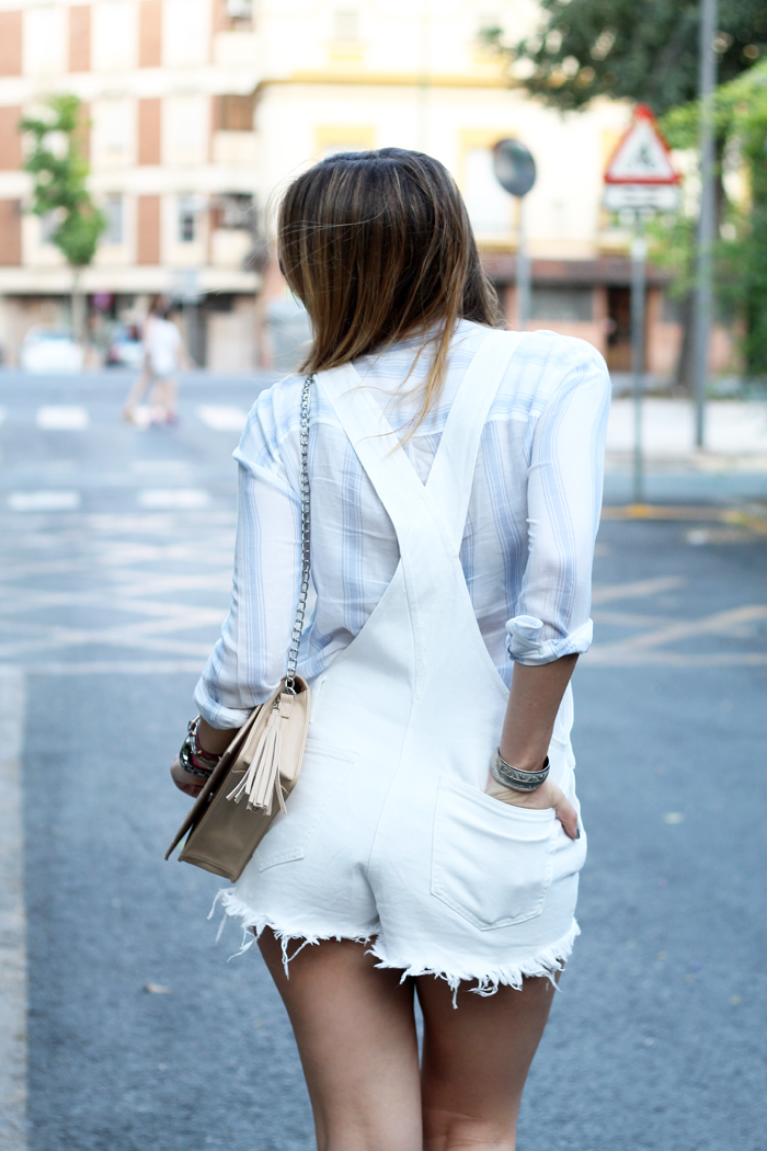 white dungaree shorts