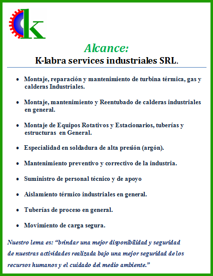 Alcance: K-labra services industriales SRL.