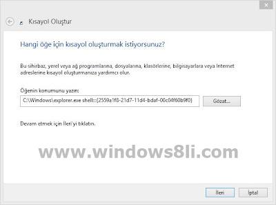 Windows 8 uygulama kısayol oluşturma