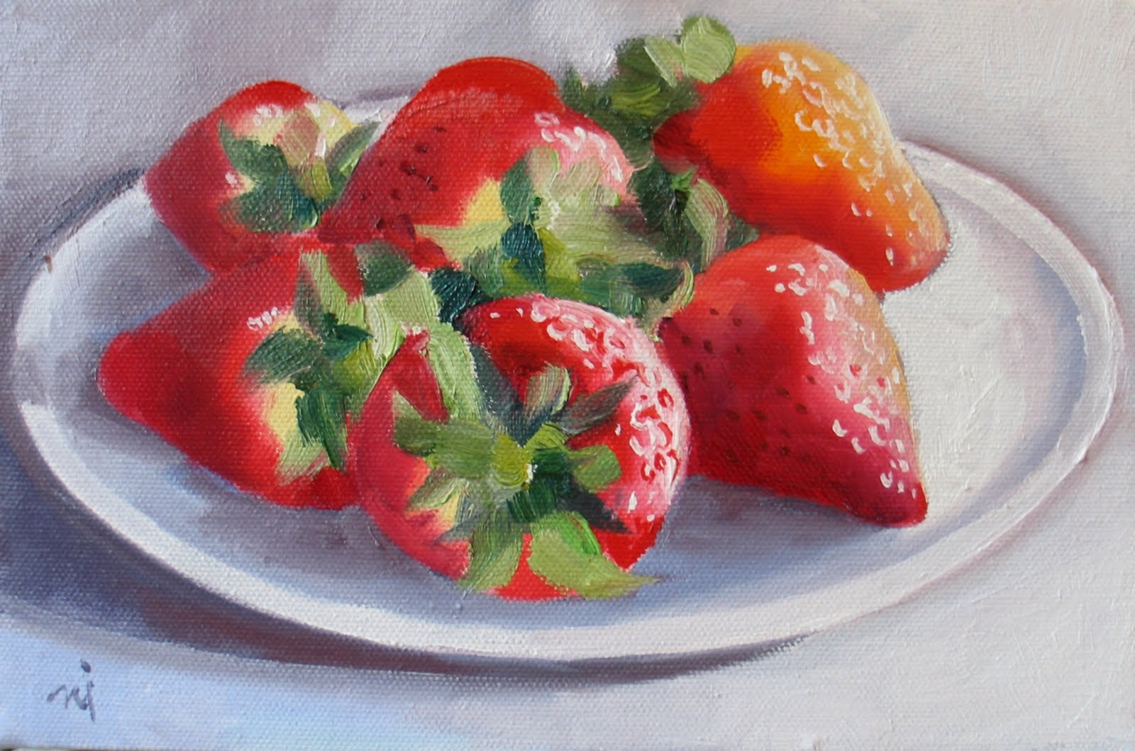 Strawberry Watercolor Painting Strawberries on plate, revised