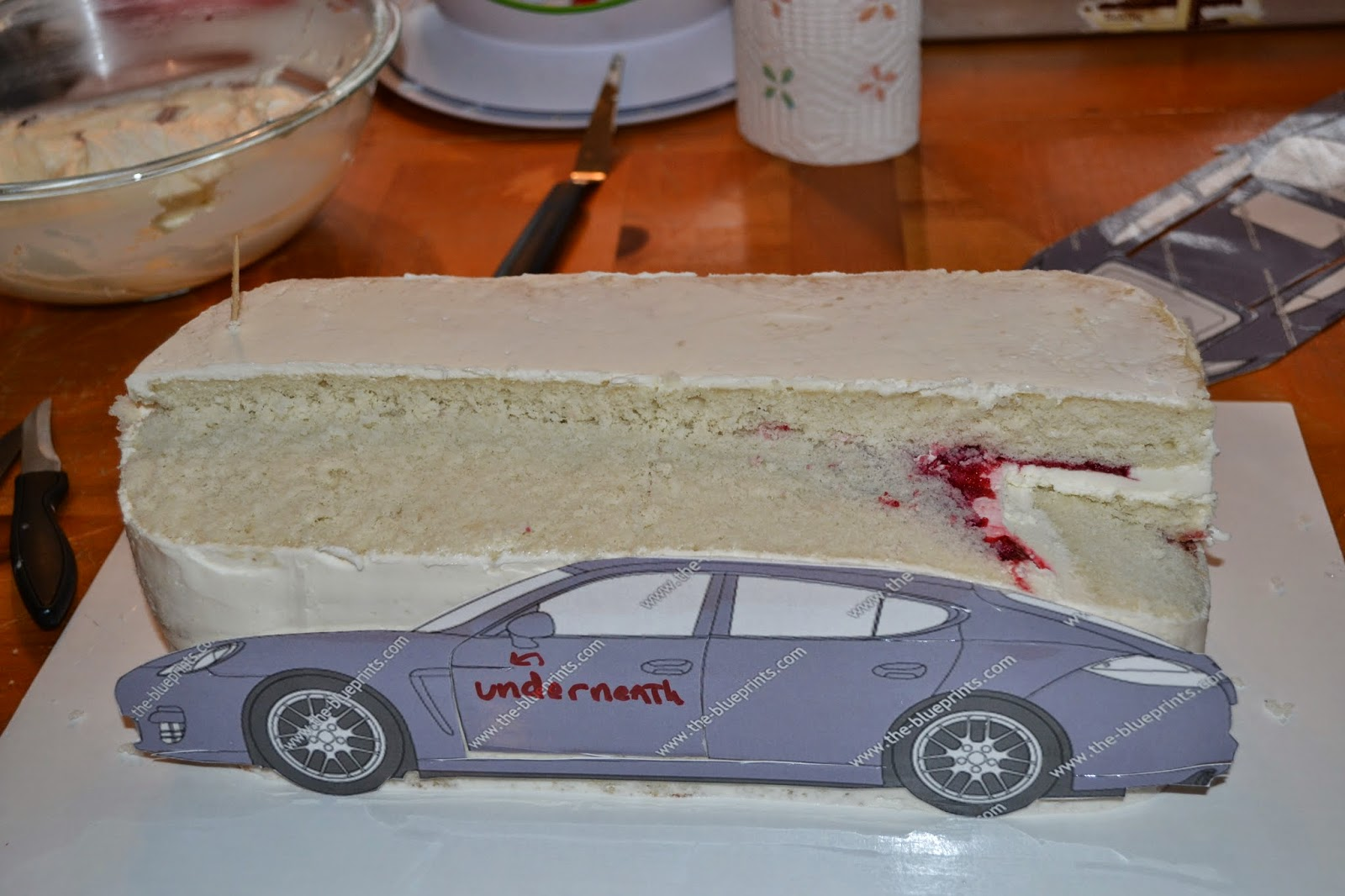 Cakes of the hamptons porsche cake after cutting out the basic design i used a paring knife to gently cut and round and soften the edges of the car mike mccarey video demonstrates this malvernweather Gallery