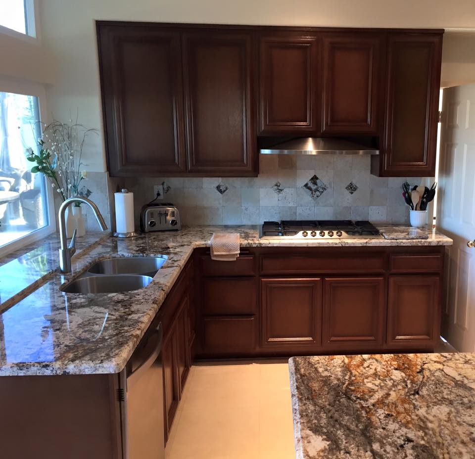 Beautiful Betularie Granite, Cabinet Refinishing, Tumbled Marble Tile And  Granite Diamonds Backsplash