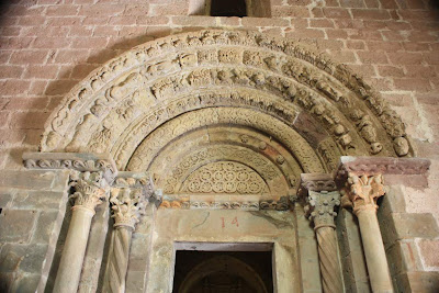 Original doorway of the romanesque church of Coustouges