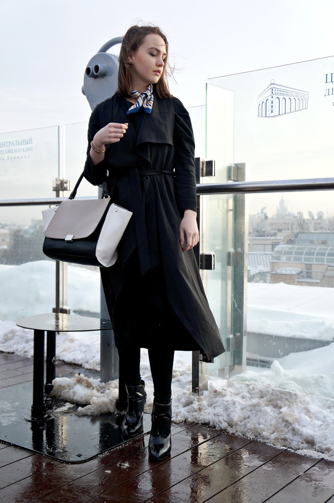 Black long vest | Alina Ermilova | Fashion blogger | Black ankle boots