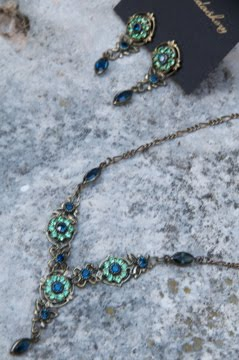 Aqua and green crystal necklace