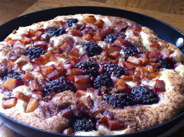 Mixed Summer Fruit Skillet Cake