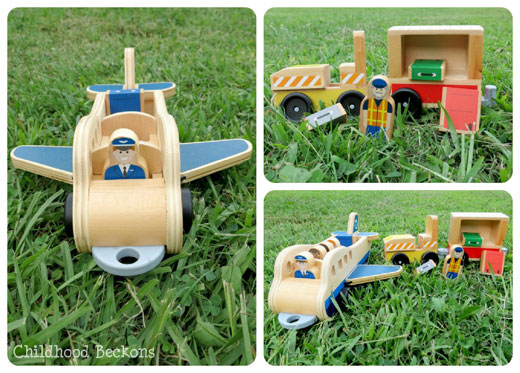 Whittle world airplane and luggage carrier toy review