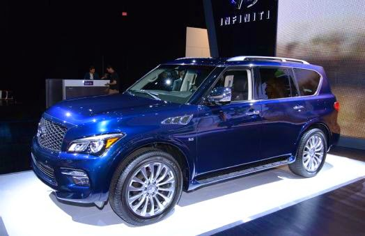 "2015 Infiniti QX80 Shows Off New Look in New York The aging Infiniti QX80 was long overdue for a refresh. The last ""update"" the big SUV received was when Infiniti decided QX80 was a better name than QX56. The 2015 model year promises much more than just a new name. The 2015 Infiniti QX80 has received a lavish amount of revisions and a new limited production model, all of which will be shown off at the 2014 New York International Auto Show.Inspired by the Q50, the QX80 gets a revised front grille that features a new hourglass shape that begins at the base of the A-pillar and flows inward down the power dome hood. The QX80 also gets the Q50's lower grille in addition to new LED running lights that sit in the lower front fascia. The headlights have been pulled back, with LED running lights added. The front bumper hides sonar sensors to help guide the large-and–in-charge QX80. For those who will be making use of the QX80's massive cargo space, a larger standard bumper protector will prevent any damage when things are being loaded or unloaded.Three exterior paint colors have been added to the palette: Hermosa Blue, Graphite Shadow, and Majestic White. New 20-inch wheels are standard, though large 22-inch wheels are available through the tire and wheel package. Two interior color schemes are available, and the wood trim has been revised for more ""visual differentiation,"" which basically means it's finished in a darker color, making it look higher in quality. Meanwhile, all Graphite-colored interiors get new silver contrast stitching that pops out more than the previous model's black stitching, in addition to silver accents on the center stack and steering wheel controls. Transferring over from the Q50, all QX80s gets the advanced high beam assist headlight function which automatically dips the high beams down if the forward-facing cameras sense oncoming traffic. The 2015 QX80 also features the Predictive Forward Collision Warning system and gets a new one-touch turn signal that blinks three times. Features included in the Technology Package on last year's model are still available, except they've been split into new Driver Assistance and Deluxe Technology packages. The new package shuffling means the Driver Assistance Package now includes brake assist, forward emergency braking, predictive forward collision warning, backup collision prevention, adaptive cruise control, blind spot warning, distance control, and steering wheel controls for safety shield tech. The Deluxe Technology package now comes with blind spot system, and lane departure warning. The comprehensive package still appears on the options list with the same equipment including a Bose audio system, climate-controlled front seats, leather seating, chrome mirror caps, and hydraulic motion control among other things.A new 2015 Infiniti QX80 Limited will offer even more refinement. Fully equipped, the QX80 Limited adds subtle exterior upgrades and features an interior that Infiniti compares to that of a private jet. A number of elements are finished in a dark color on the exterior including the headlights, taillights, front grille, door handles, roof rails, license plate surround, side mirror caps, and 22-inch alloy wheels. Three new colors exclusive to the Limited include Imperial Black, Mocha Almond, and Dakar Bronze. Inside, the QX80 Limited gets unique Truffle Brown interior upholstery with exclusive wood trim that features an ""open pore"" look and matte finish. Quilted seats help give the interior a more premium feel, as well as contrasting silver piping. Everything is wrapped in leather including the speakers on the instrument panel, assist handles, and steering wheel. The headliner and pillars feature a soft ""Ultrasuede"" lining, and illuminated door sills help light the way for passengers entering and exiting the vehicle. Since the QX80 is fully equipped with amenities such as the Theater package and Deluxe Technology package, there are no option packages. The QX80 Limited will – get this – be sold in limited numbers.Everything else remains the same. The QX80 accommodates up to eight passengers and is powered by a 5.6-liter V-8 that makes 400 hp and 413 lb-ft of torque. The beefy engine is matched to a seven-speed automatic, and models can be had in either rear- or all-wheel drive.Check out the new 2015 Infiniti QX80 in the photos below."
