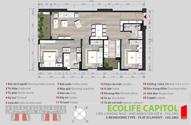 Căn hộ 102,2m2 - Ecolife Capitol