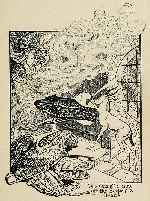 The Gazelle cuts off the serpent's heads.