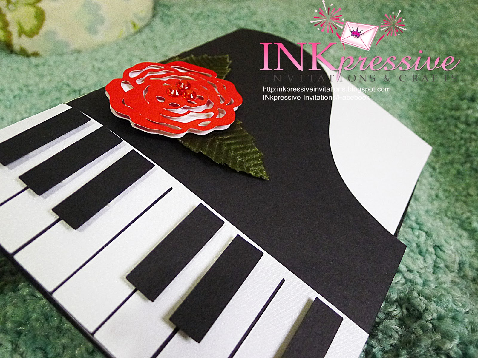 Piano inspired music theme 18th birthday handmade invitation piano inspired music themed invitation thecheapjerseys Images