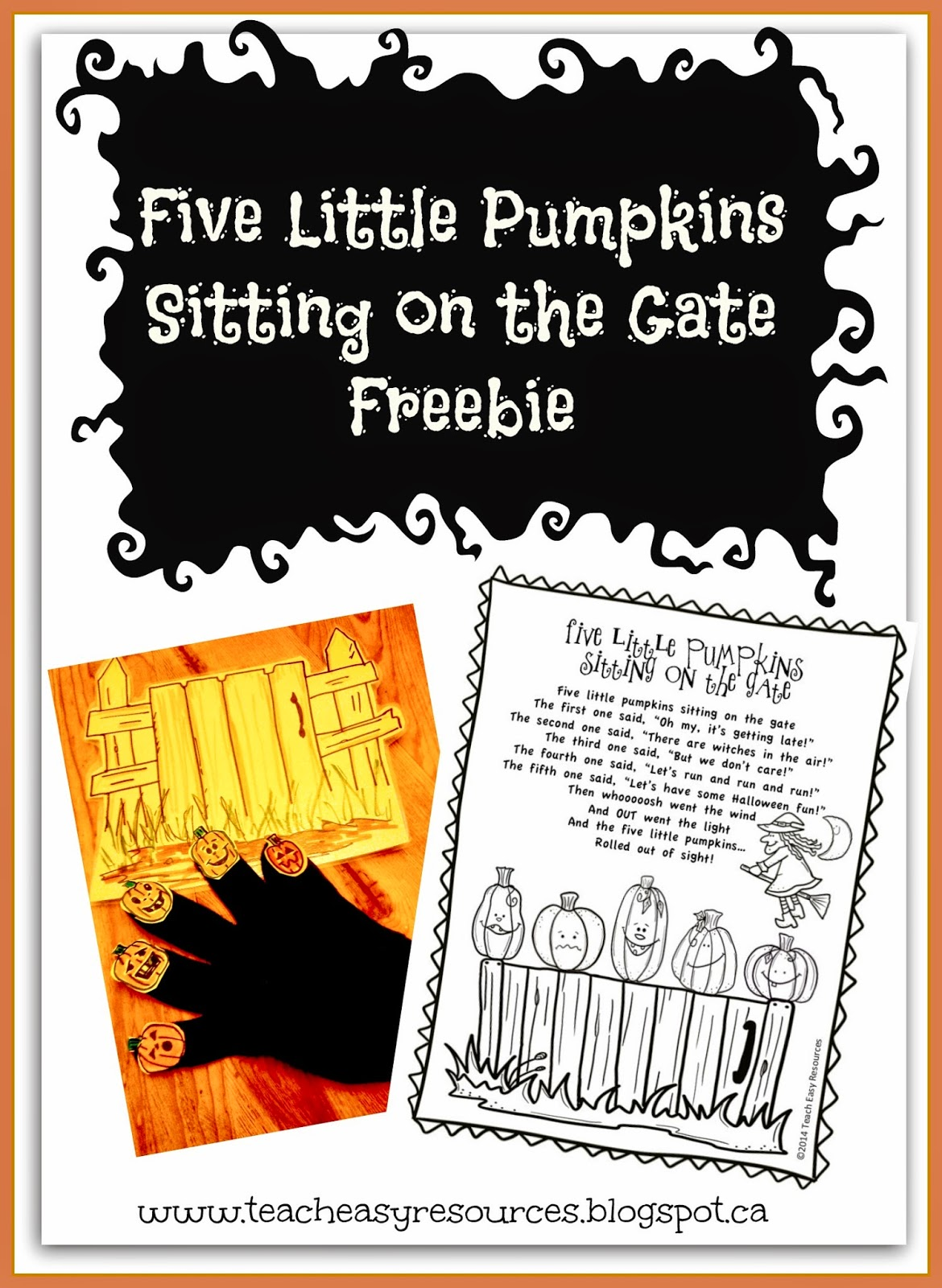 Classroom freebies too free five little pumpkins sitting for Five little pumpkins sitting on a gate coloring page