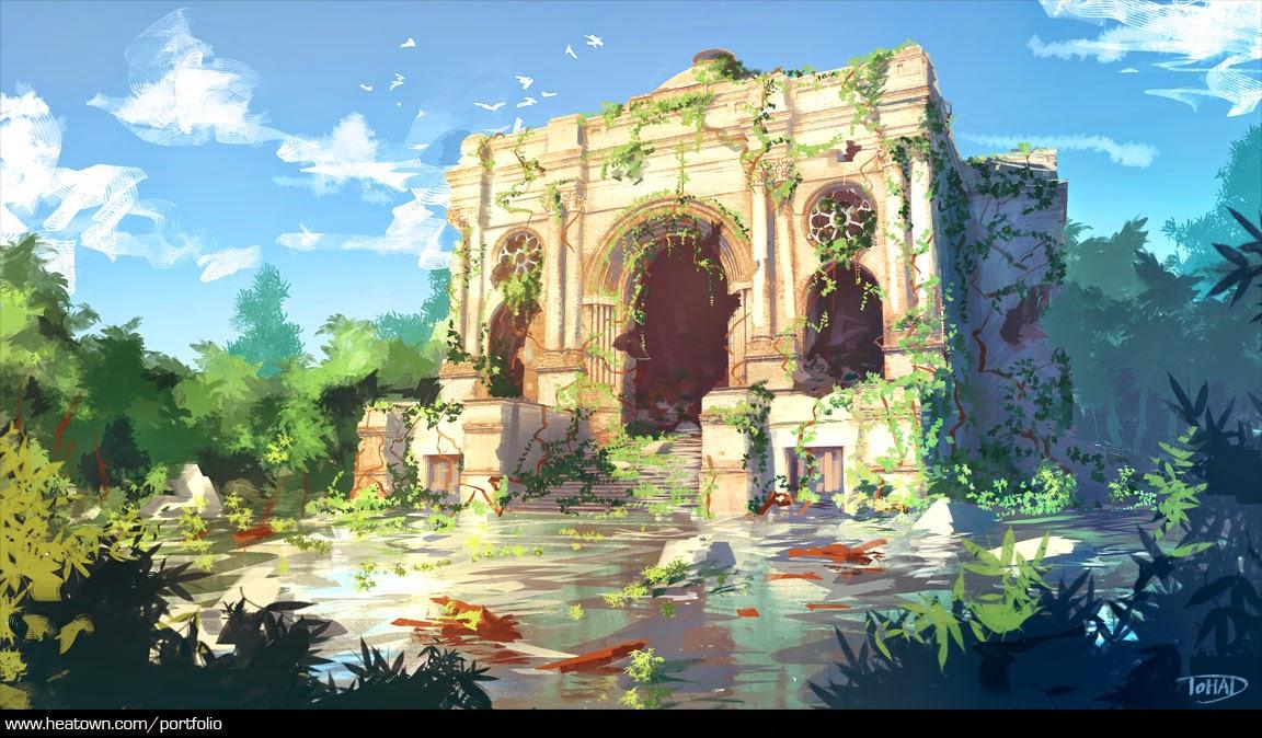 illustration de Sylvain «Tohad» Sarrailh représentant une ruines dans un marais