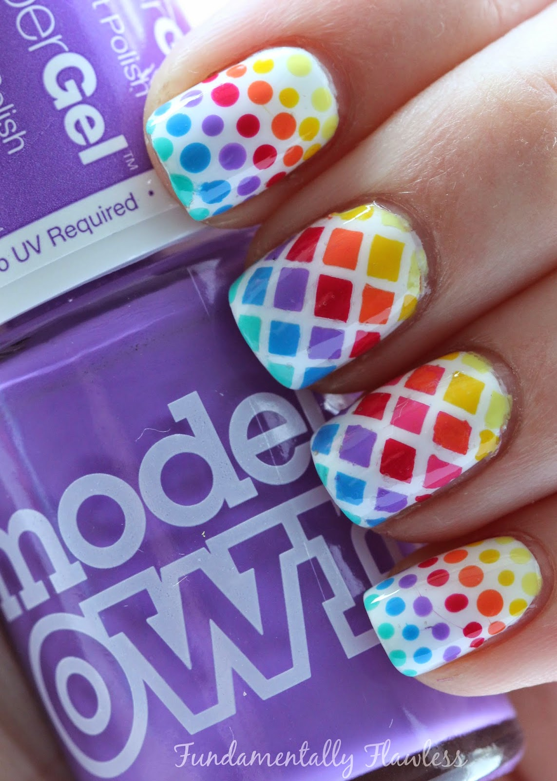Models Own Purple Glaze Rainbow Diamonds and Dots Nail Art