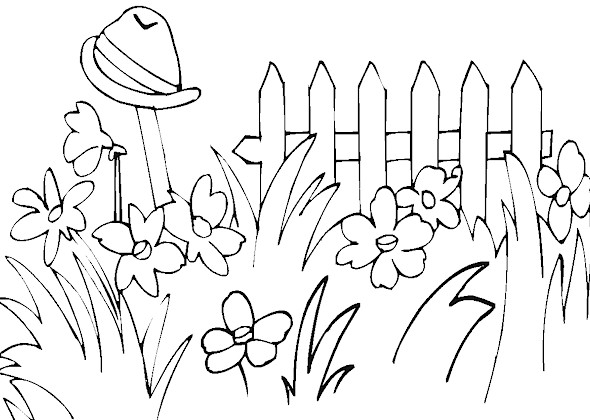 Flower Garden Coloring Pages for Kids title=