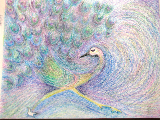Oil Pastel - Peacock painting