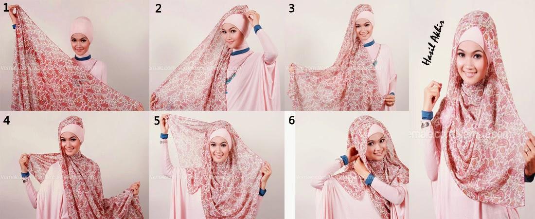 Model berhijab terbaru Dengan Jilbab SegiEmpat Motif