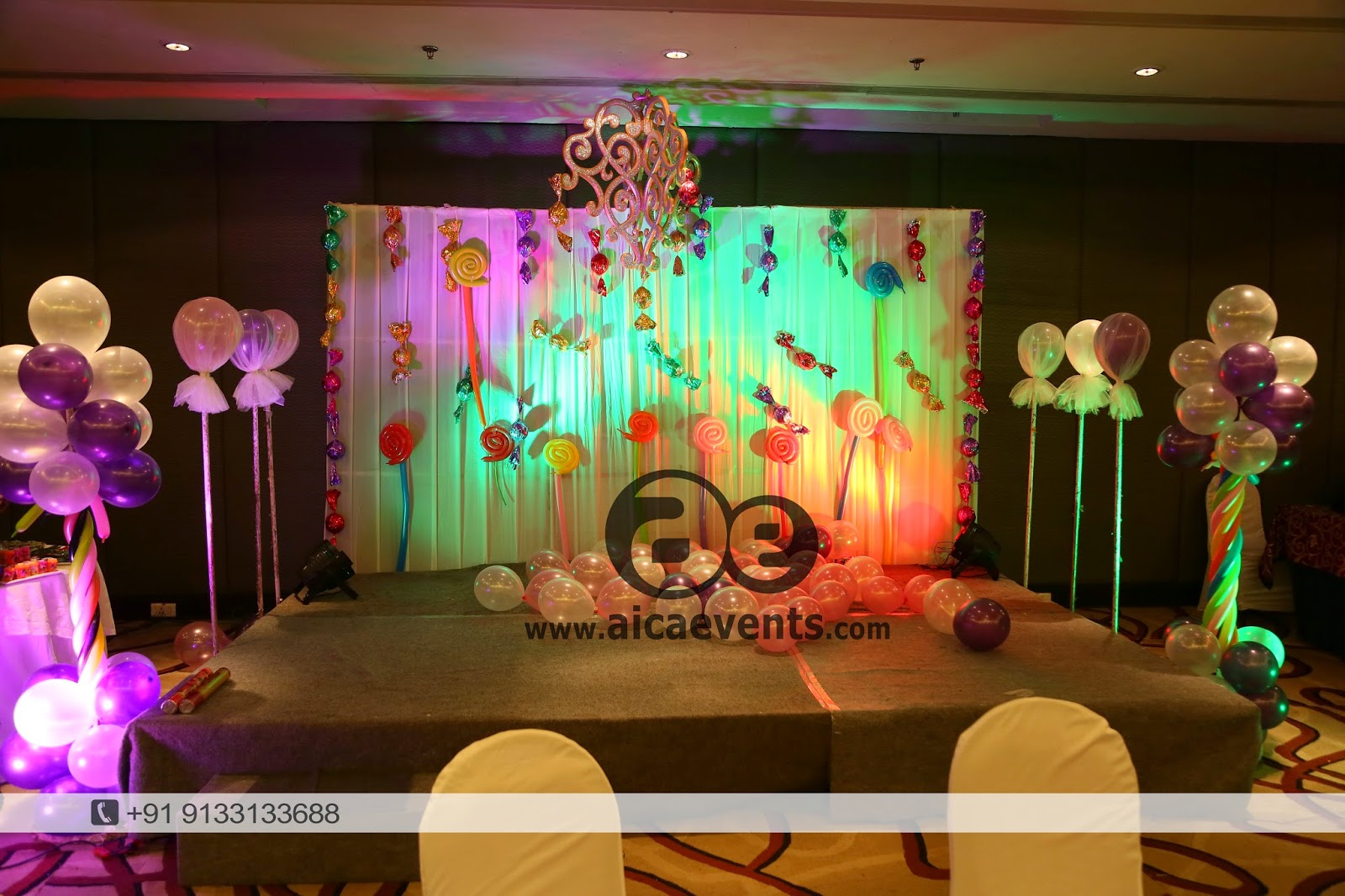 Aicaevents india candy crush theme birthday party for Balloon decoration for stage