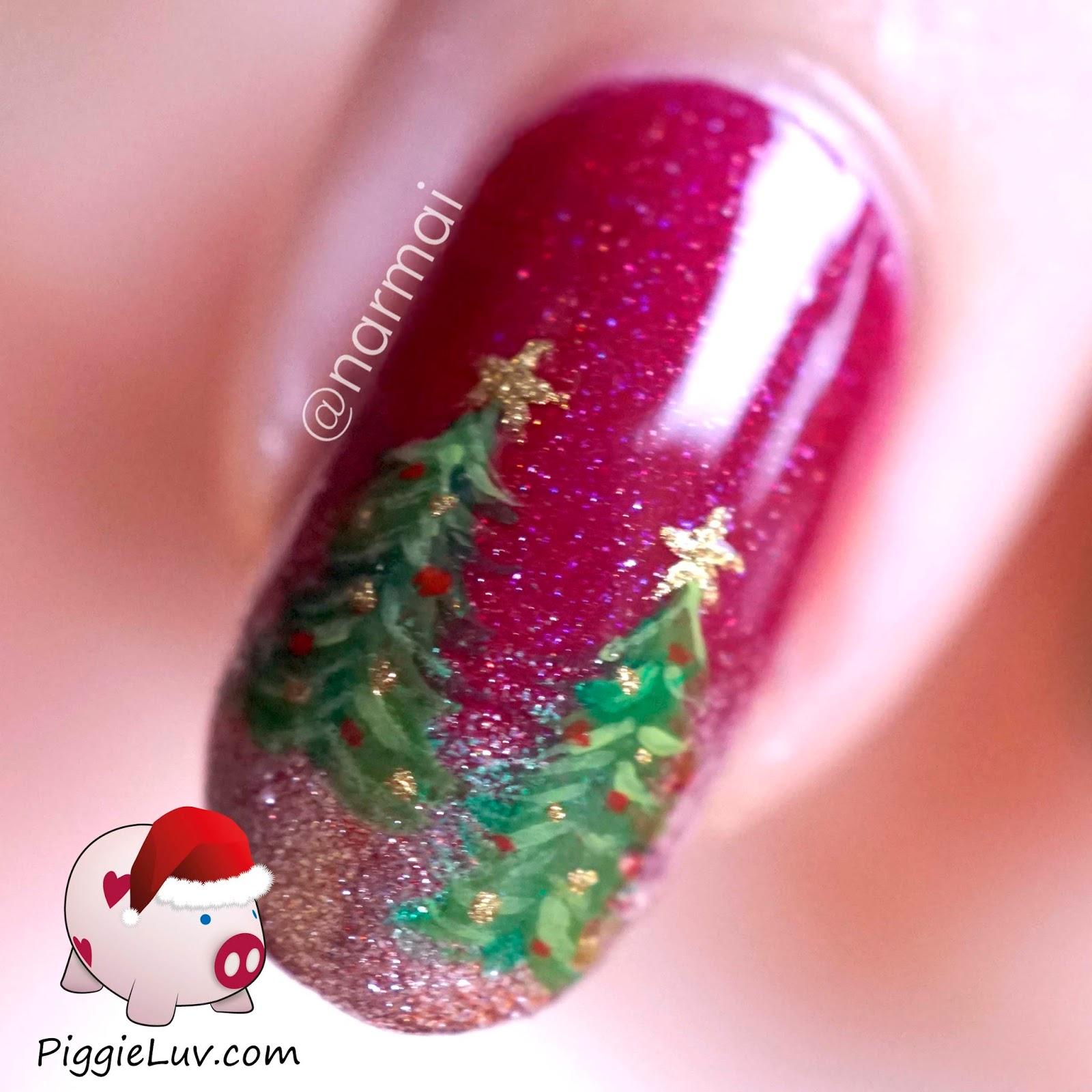 PiggieLuv: Christmas trees nail art