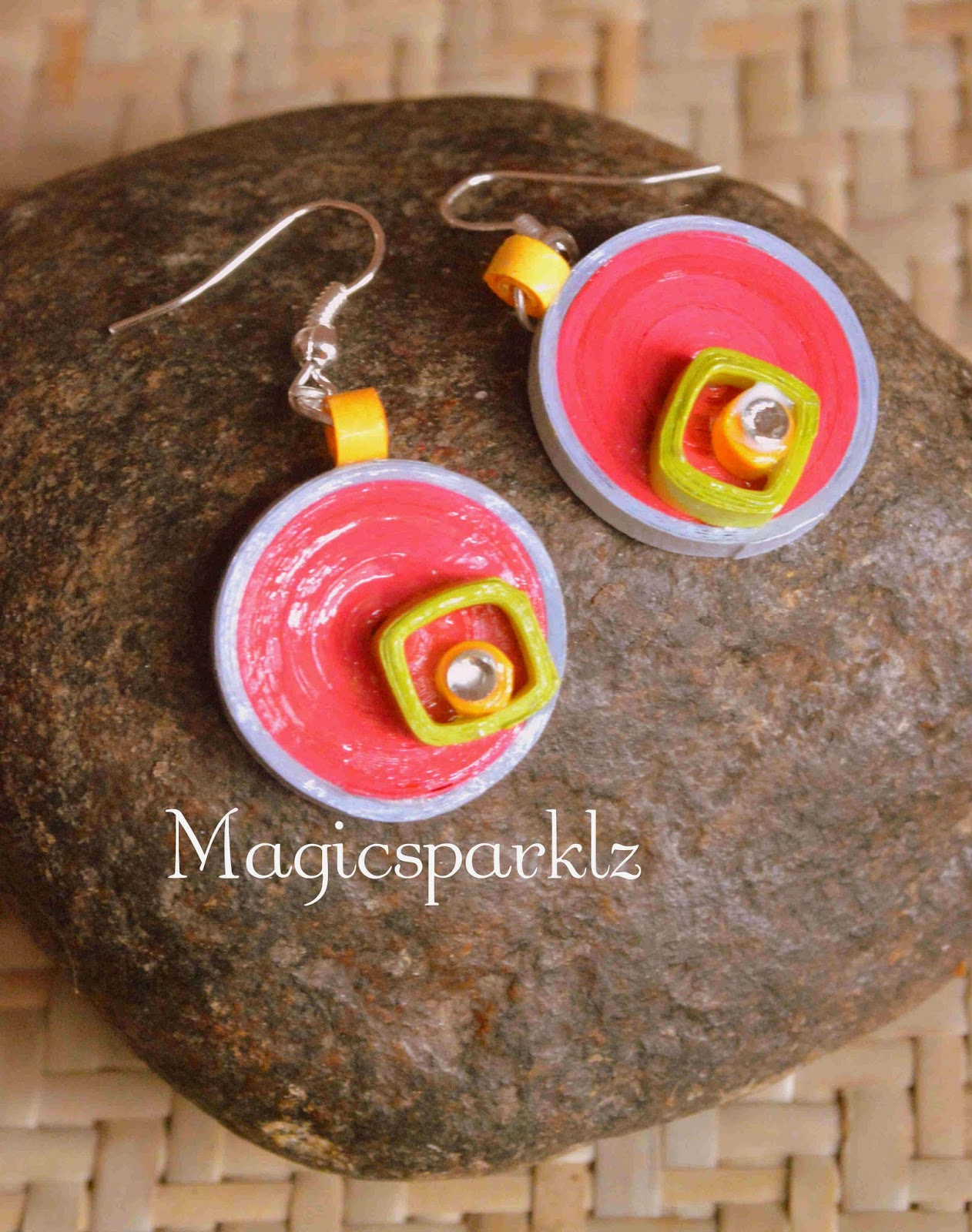 Quilled pink colour earrings