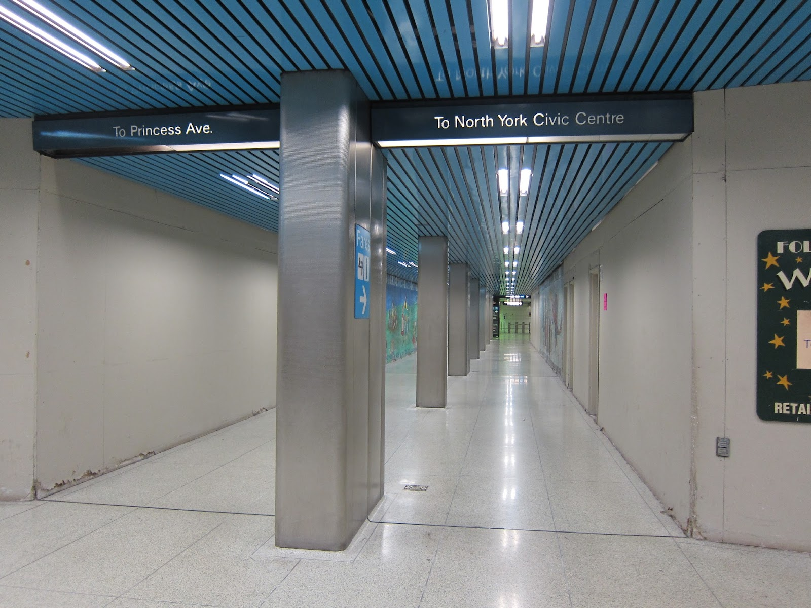 Passageway at the north end of North York Centre mezzanine.