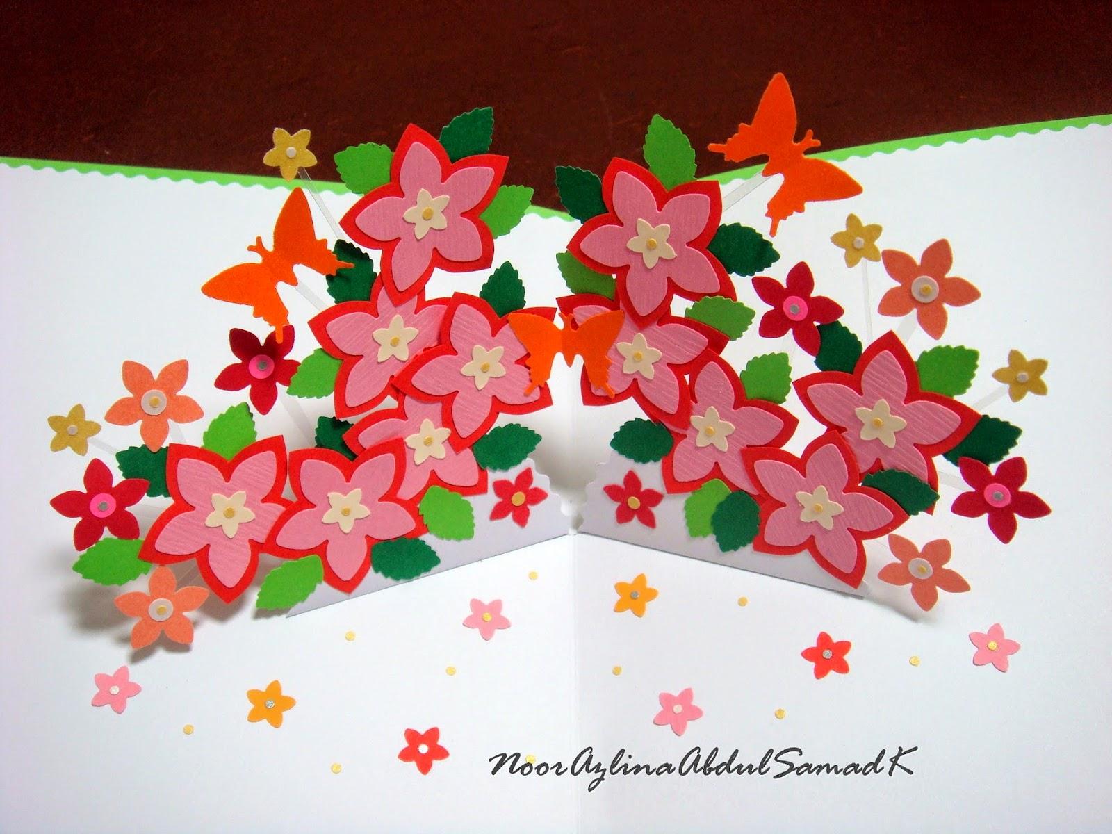 Double star loop flower pop up birthday card