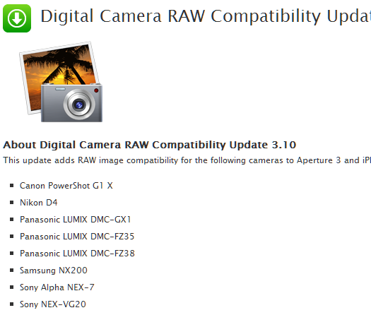 sony nex-7 apple camera raw file