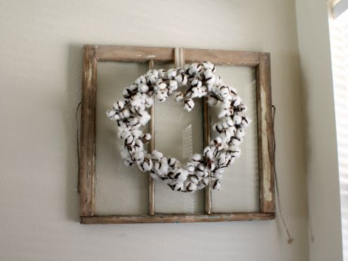 Antique Window + Cotton Wreath