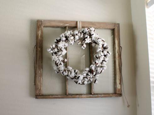 Antique Window + Cotton Wreath