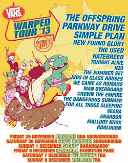 Vans Warped Tour Australia 2013 tour dates & Lineup detailed