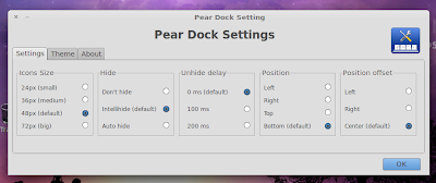 Pear dock settings