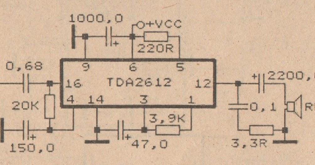 schematic audio power amplifier with ic tda2612 diy