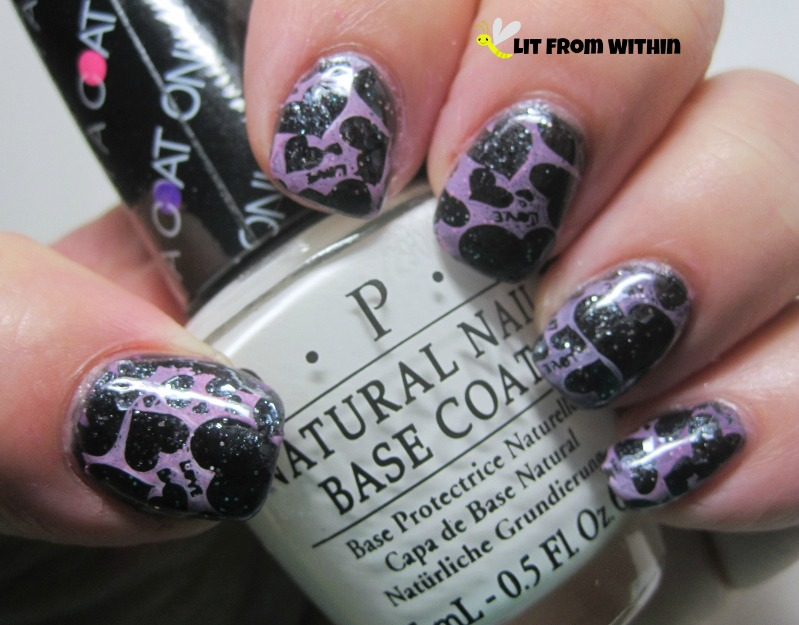 Revlon Passionate Pink and OPI Put A Coat On! mixed and stamped with Big SdP-K plate