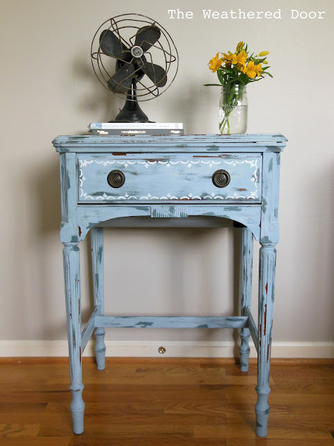 Custom color mix MMS milk paint on a sewing table from The Weathered Door