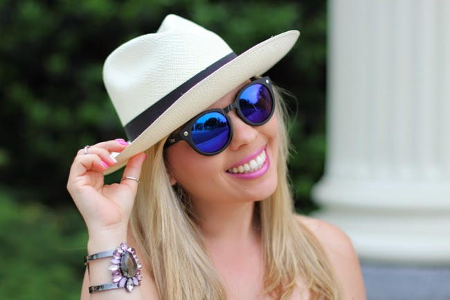 panama hat and blue mirrored sunglasses