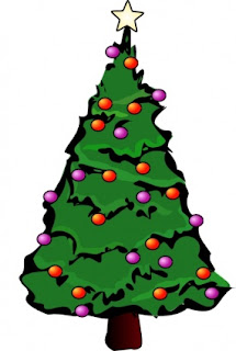 Christmas tree decorated clip art picture with colorful baubles and X mas star