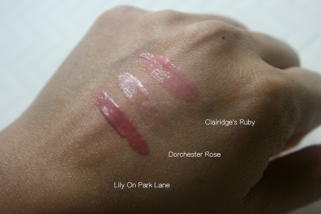 Rimmel Stay Glossy Lip Glosses Lily On Park Lane, Dorchester Rose, Claridge's Ruby Swatches