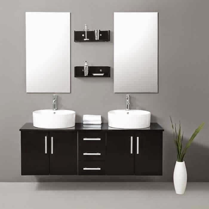 Meuble salle de bain noir meuble d coration maison for Salle de bain meuble noir