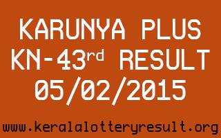 Karunya Plus Lottery KN-43 Result 05-02-2015